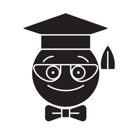 Nerdy student emoji black vector concept icon. Nerdy student emoji flat illustration, sign, symbol Stock Illustratie