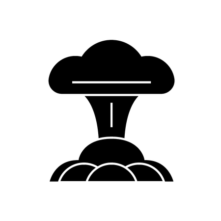 Nuclear explosion black vector concept icon. Nuclear explosion flat illustration, sign, symbol