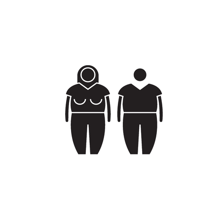 Obesity black vector concept icon. Obesity flat illustration, sign, symbol Stock Vector - 126864793