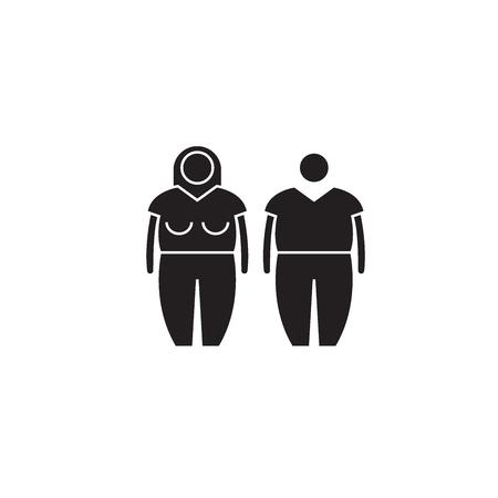 Obesity black vector concept icon. Obesity flat illustration, sign, symbol