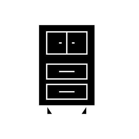 Office cupboards  black vector concept icon. Office cupboards  flat illustration, sign, symbol Illustration