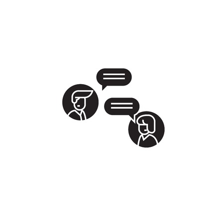 Online discussion black vector concept icon. Online discussion flat illustration, sign, symbol