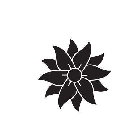Petunia black vector concept icon. Petunia flat illustration, sign, symbol