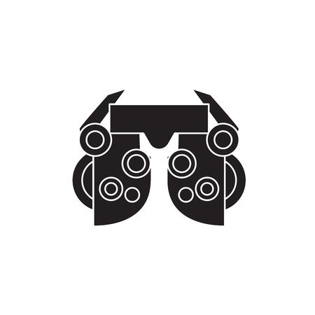 Icône de concept de vecteur noir optométrie. Télévision optométrie illustration, signe, symbole