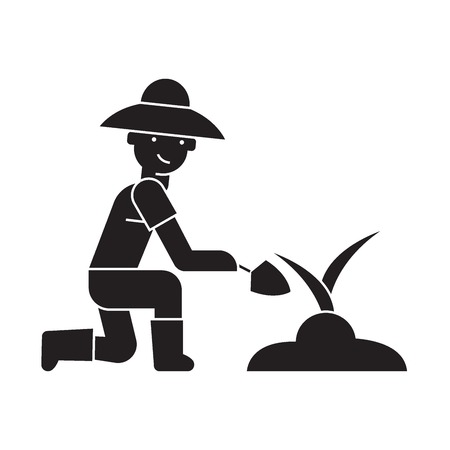 Organic fertilization black vector concept icon. Organic fertilization flat illustration, sign, symbol