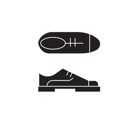 Oxford shoes black vector concept icon. Oxford shoes flat illustration, sign, symbol