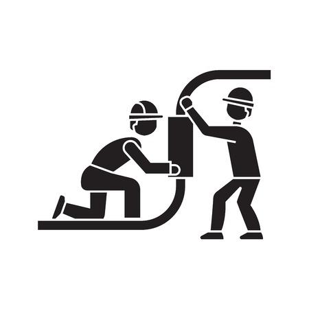 Pipeline construction black vector concept icon. Pipeline construction flat illustration, sign, symbol