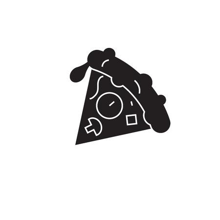 Pizza slice black vector concept icon. Pizza slice flat illustration, sign, symbol