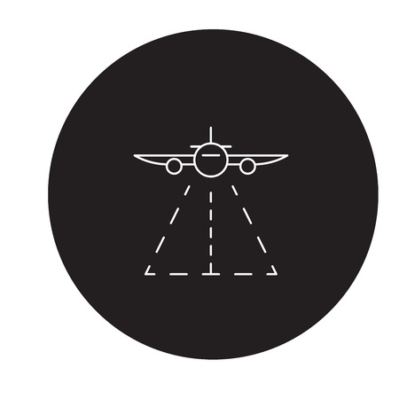 Plane landing black vector concept icon. Plane landing flat illustration, sign, symbol