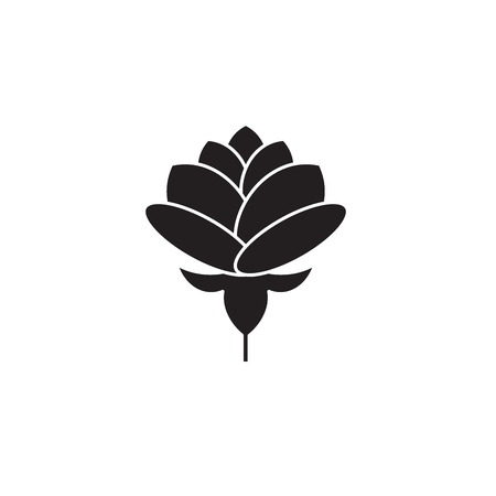 Peony black vector concept icon. Peony flat illustration, sign, symbol