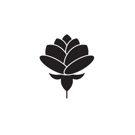 Pfingstrose schwarz Vektor-Konzept-Symbol. Pfingstrose flache Abbildung, Zeichen, Symbol
