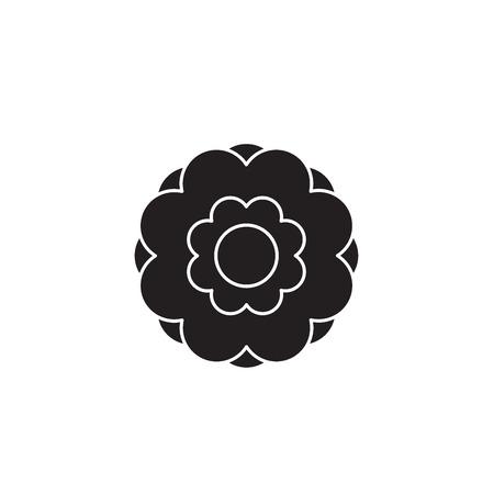 Peony flower black vector concept icon. Peony flower flat illustration, sign, symbol Ilustracja