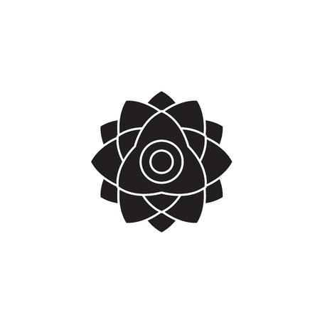 Peony flower black vector concept icon. Peony flower flat illustration, sign, symbol Foto de archivo - 126864831
