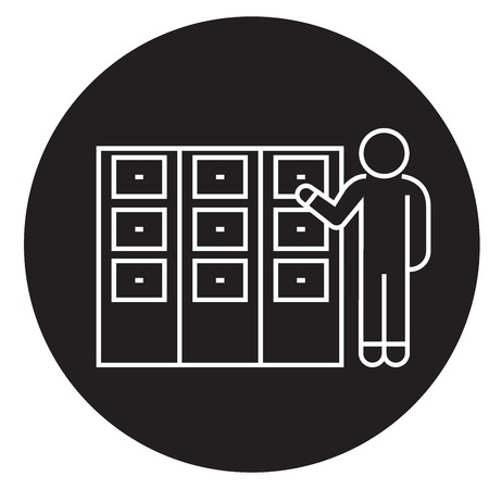 Person searching file in office black vector concept icon. Person searching file in office flat illustration, sign, symbol