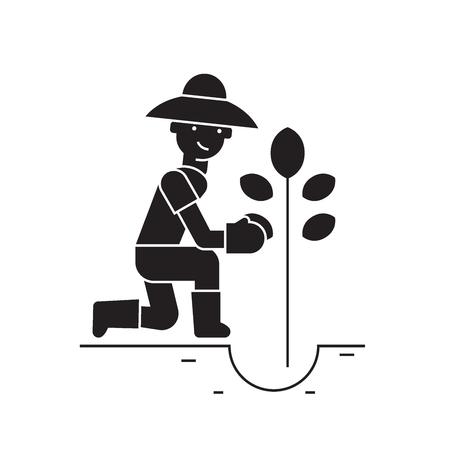 Planting tree black vector concept icon. Planting tree flat illustration, sign, symbol Ilustração