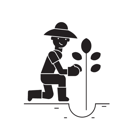 Planting tree black vector concept icon. Planting tree flat illustration, sign, symbol Illustration