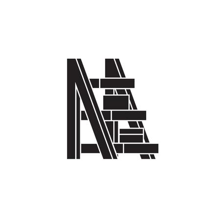 Plants ladder black vector concept icon. Plants ladder flat illustration, sign, symbol Illustration