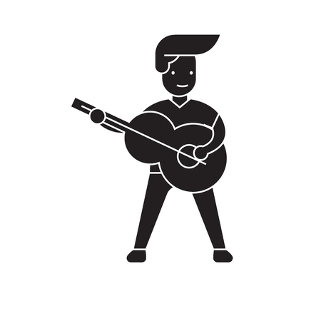 Playing a guitar black vector concept icon. Playing a guitar flat illustration, sign, symbol