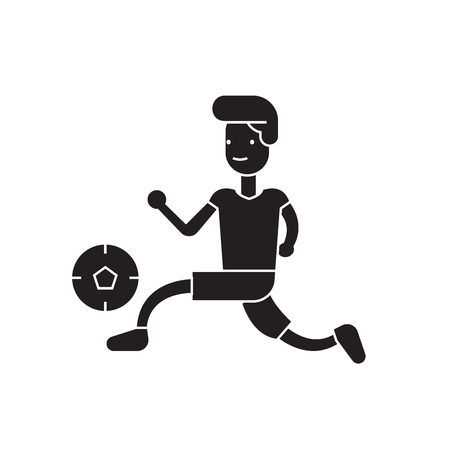 Playing football black vector concept icon. Playing football flat illustration, sign, symbol