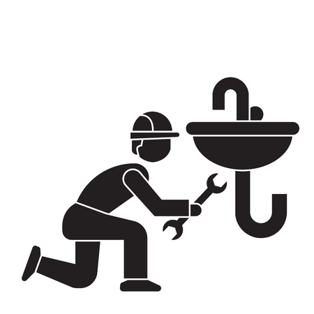Plumbing maintenance black vector concept icon. Plumbing maintenance flat illustration, sign, symbol