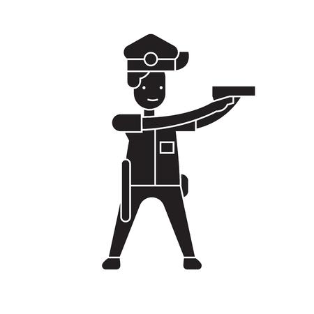 Policeman aiming black vector concept icon. Policeman aiming flat illustration, sign, symbol