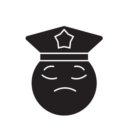Policeman emoji black vector concept icon. Policeman emoji flat illustration, sign, symbol