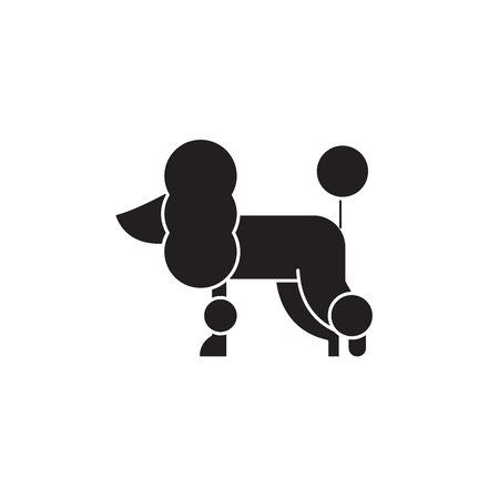 Poodle black vector concept icon. Poodle flat illustration, sign, symbol Stock Illustratie