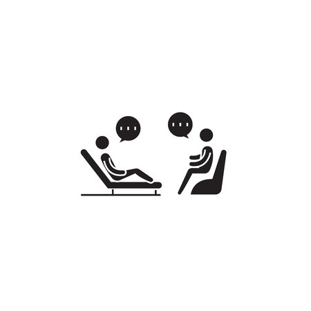 Psychologist couch black vector concept icon. Psychologist couch flat illustration, sign, symbol