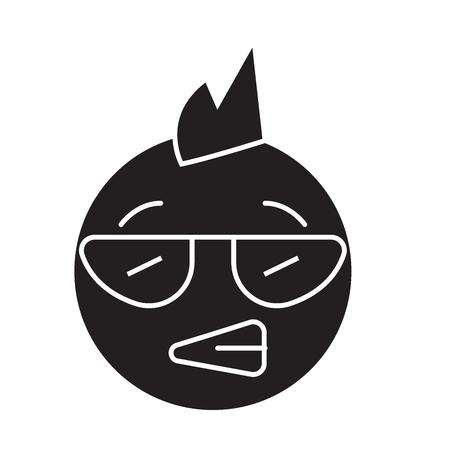 Punk emoji black vector concept icon. Punk emoji flat illustration, sign, symbol Illustration