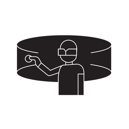 Researcher black vector concept icon. Researcher flat illustration, sign, symbol