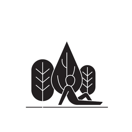 Rest in the woods black vector concept icon. Rest in the woods flat illustration, sign, symbol
