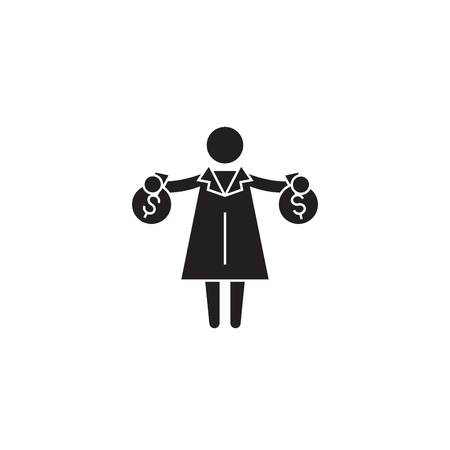 Rich woman getting money black vector concept icon. Rich woman getting money flat illustration, sign, symbol