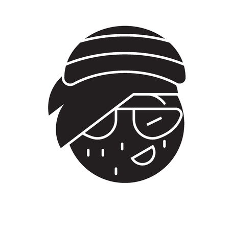 Rasta emoji black vector concept icon. Rasta emoji flat illustration, sign, symbol  イラスト・ベクター素材