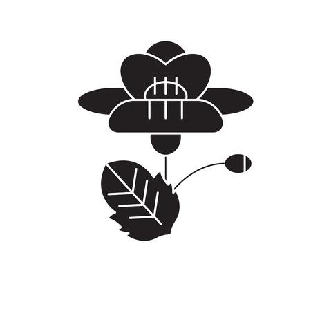 Poppy black vector concept icon. Poppy flat illustration, sign, symbol