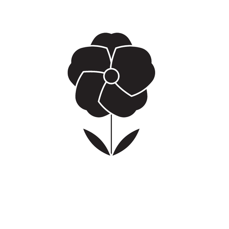Poppy flower black vector concept icon. Poppy flower flat illustration, sign, symbol