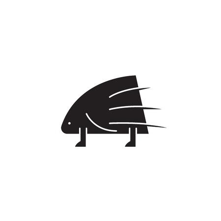 Porcupine black vector concept icon. Porcupine flat illustration, sign, symbol Ilustração