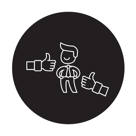 Positive feedback black vector concept icon. Positive feedback flat illustration, sign, symbol Ilustrace