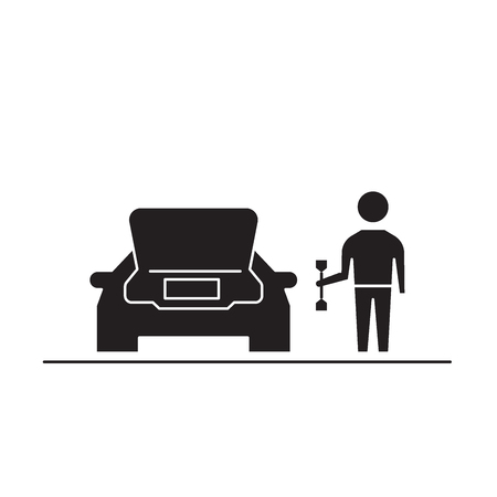 Road breakdown black vector concept icon. Road breakdown flat illustration, sign, symbol