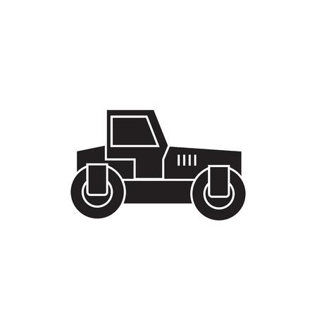 Road roller black vector concept icon. Road roller flat illustration, sign, symbol Illustration