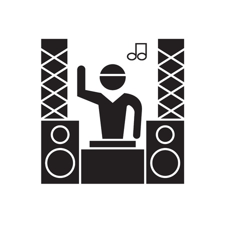 Professional dj black vector concept icon. Professional dj flat illustration, sign, symbol Illusztráció