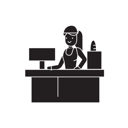 Receptionist woman black vector concept icon. Receptionist woman flat illustration, sign, symbol Çizim