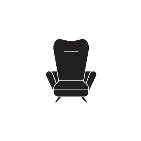 Recliner black vector concept icon. Recliner flat illustration, sign, symbol Illustration