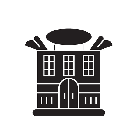 Prominent house black vector concept icon. Prominent house flat illustration, sign, symbol