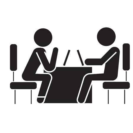 Psychologist and patient black vector concept icon. Psychologist and patient flat illustration, sign, symbol Stock Illustratie