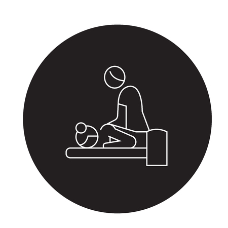 Relaxing massage black vector concept icon. Relaxing massage flat illustration, sign, symbol