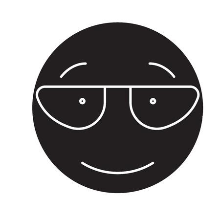 Scientist emoji black vector concept icon. Scientist emoji flat illustration, sign, symbol