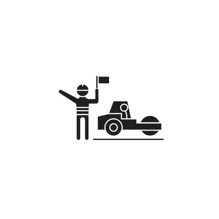 Roadroller working black vector concept icon. Roadroller working flat illustration, sign, symbol Illustration