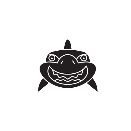 Shark smile black vector concept icon. Shark smile flat illustration, sign, symbol