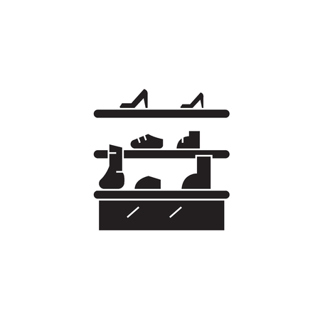 Shoe stand black vector concept icon. Shoe stand flat illustration, sign, symbol