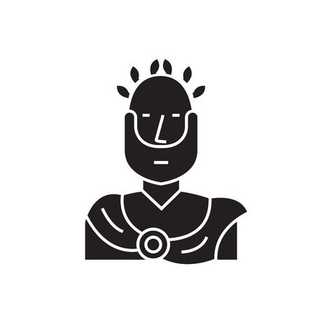 Icône de concept de vecteur noir empereur romain. Illustration plate de l'empereur romain, signe, symbole